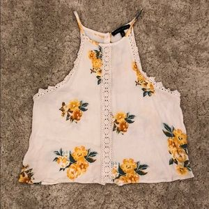 Kendall & Kylie Floral Print Tank with Lace Detail